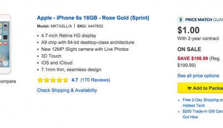 Đặt mua iPhone 6s tại Mỹ đang với giá $1