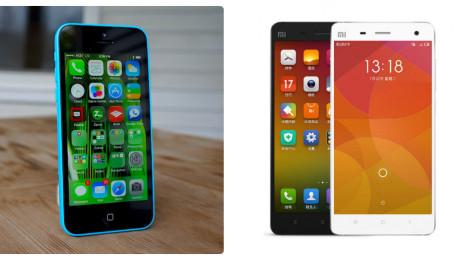 So sánh mức giá của điện thoại iPhone 5C Lock và Xiaomi Mi4