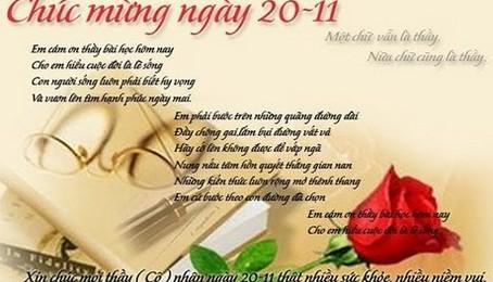 Những bài thơ 20 - 11 hay và ý nghĩa dành tặng thầy cô