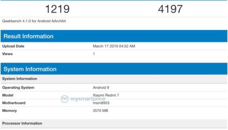 Redmi 7 xuất hiện trên Geekbench trước ngày ra mắt