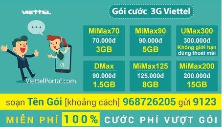 Các cách mua thêm dung lượng (data) 3G Viettel
