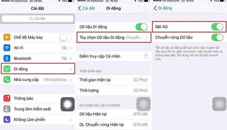 Bật tắt 4G trên điện thoại iPhone (hệ điều hành iOS)