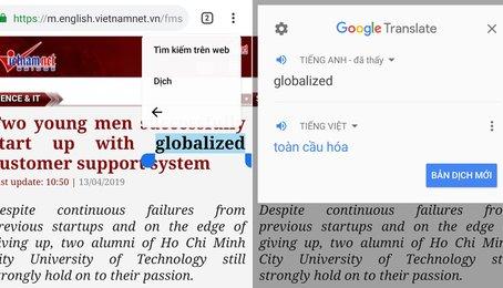 Dịch nghĩa của từ bất kì trên màn hình Android cực kỳ tiện dụng