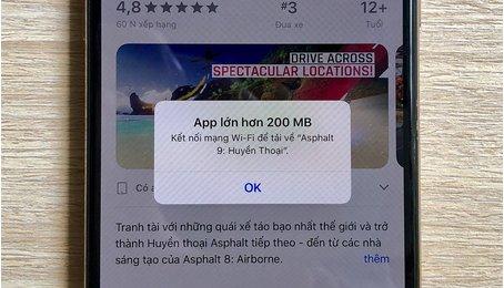 Thủ thuật tại ứng dụng vượt quá 200MB bằng 3G/4G trên iPhone (iOS 12)