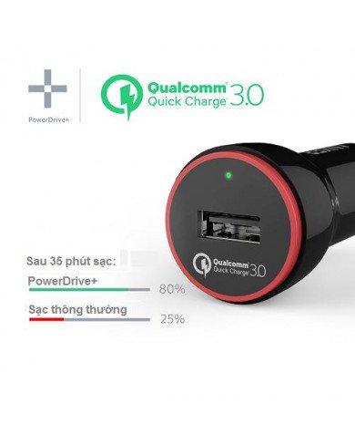 Sạc Ô tô ANKER 1 cổng, 24W, Quick Charge 3.0 (Powerdrive Plus 1,24W, QC 3.0)