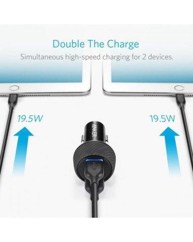 Sạc Ô tô ANKER 2 cổng 39W, Quick Charge 3.0 (Powerdrive Speed 2, 39W, QC 3.0)