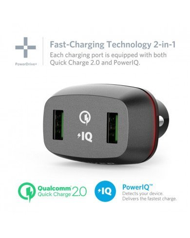 Sạc Ô tô ANKER 2 cổng, 36W, Quick Charge 2.0 (Powerdrive Plus 2, 36W, QC 2.0)